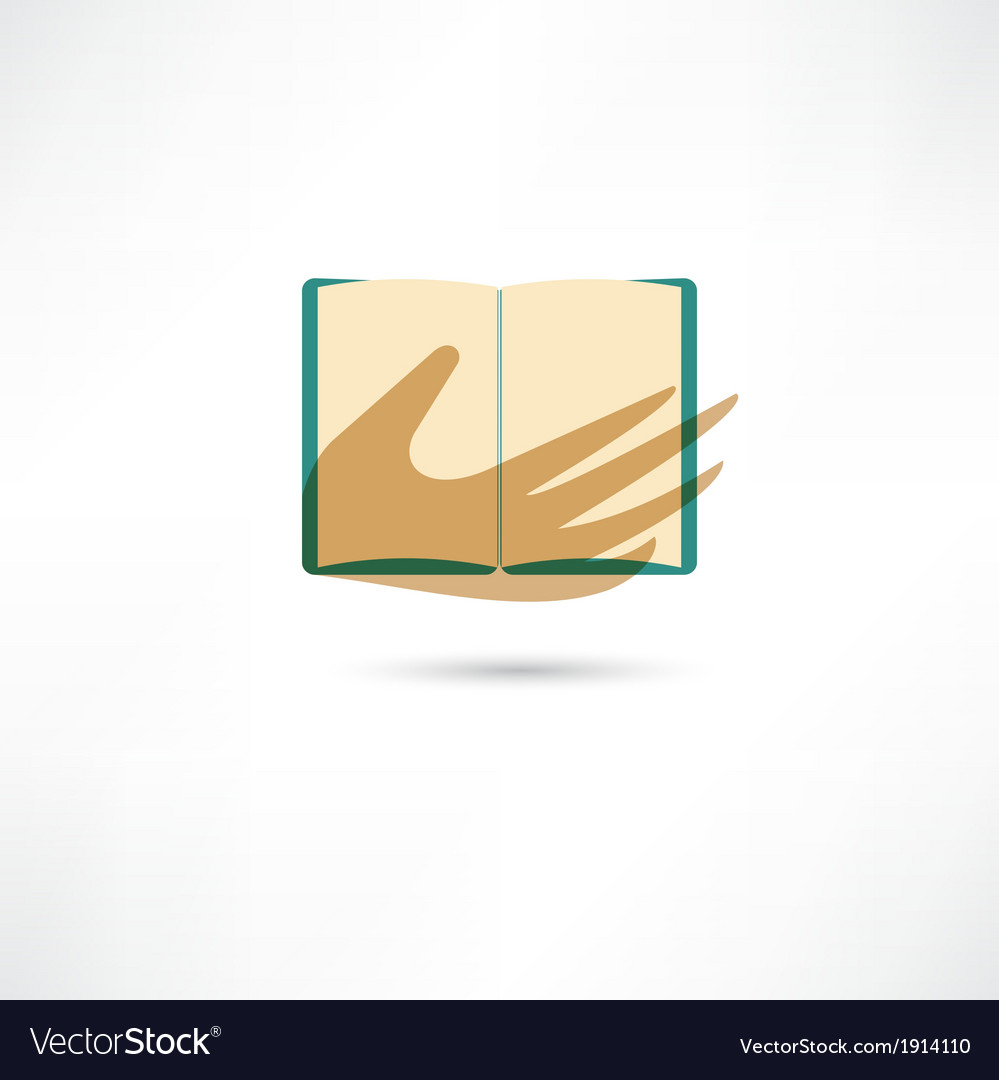 Hand and the open book vector | Price: 1 Credit (USD $1)