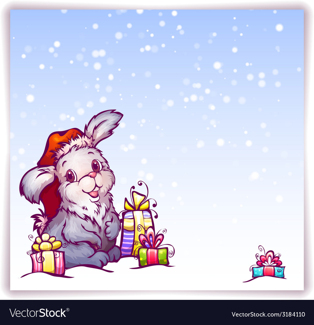 Hare in christmas hat vector | Price: 1 Credit (USD $1)