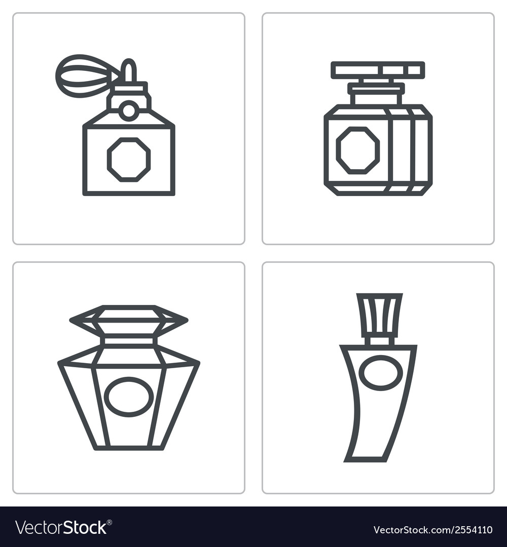 Vintage perfume icons set vector | Price: 1 Credit (USD $1)