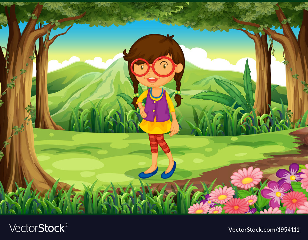 A nerd young lady at the forest vector | Price: 1 Credit (USD $1)