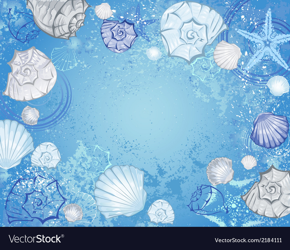 Blue background with sea shells vector | Price: 1 Credit (USD $1)