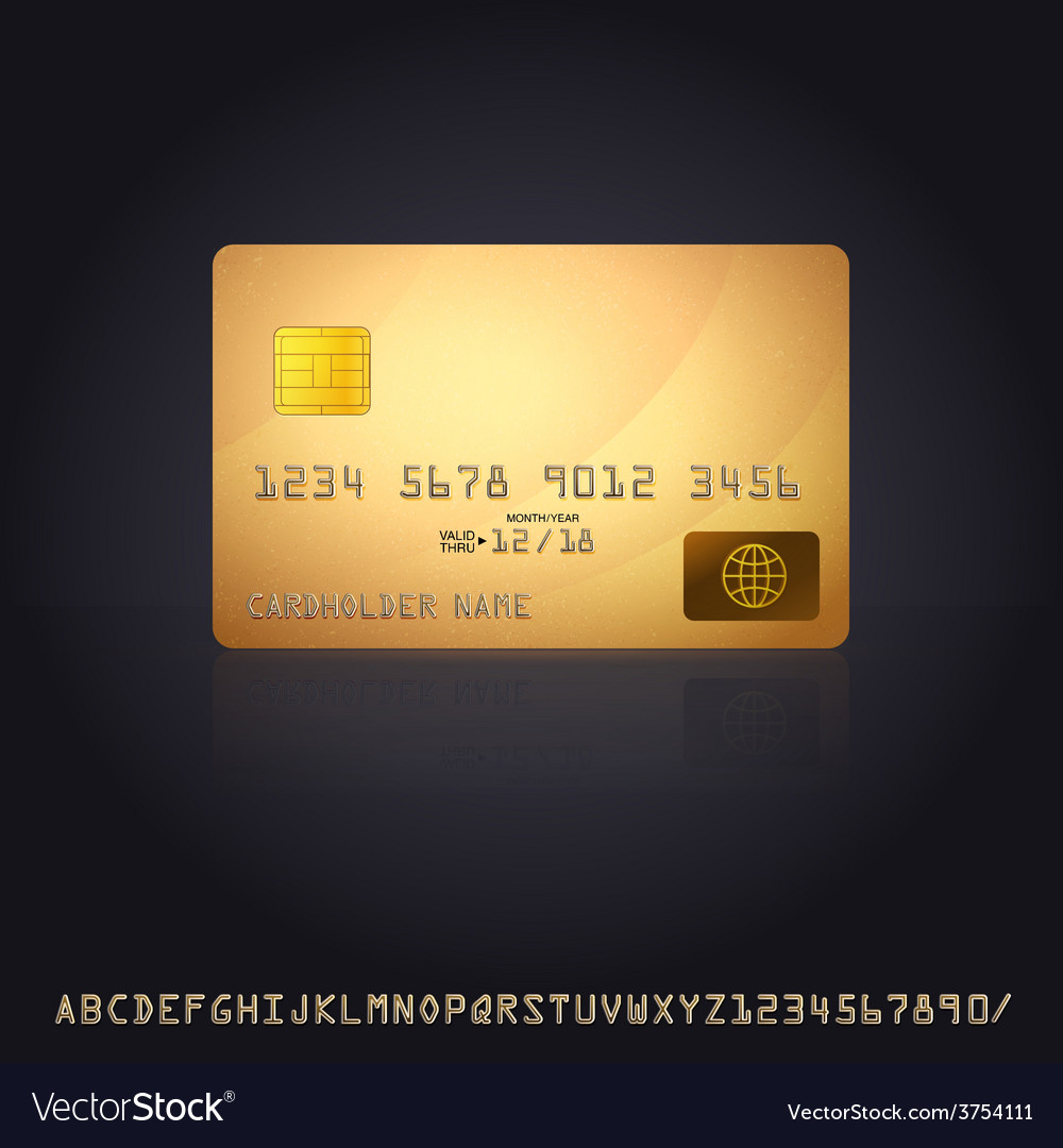 Gold credit card icon vector | Price: 1 Credit (USD $1)