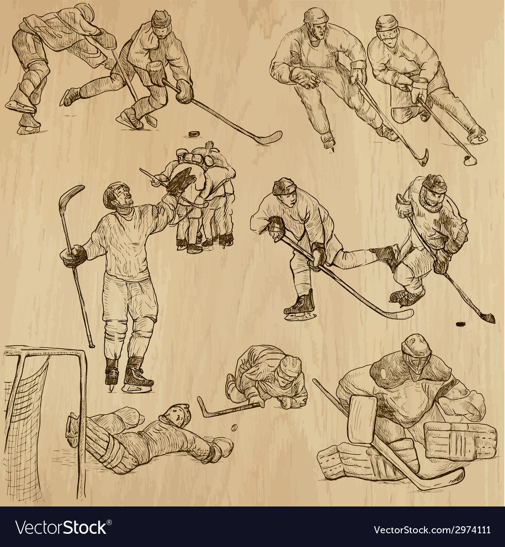 Ice hockey - an hand drawn pack vector | Price: 1 Credit (USD $1)