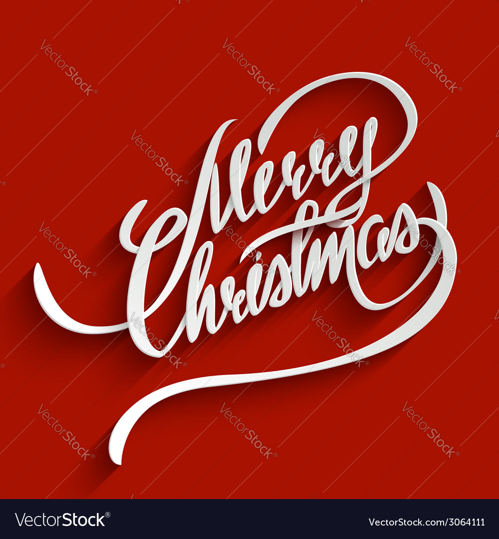 Merry christmas lettering greeting card vector | Price: 1 Credit (USD $1)