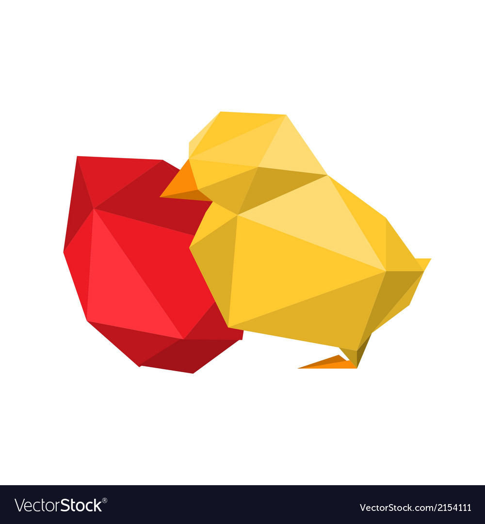 Origami chicken with red egg vector | Price: 1 Credit (USD $1)