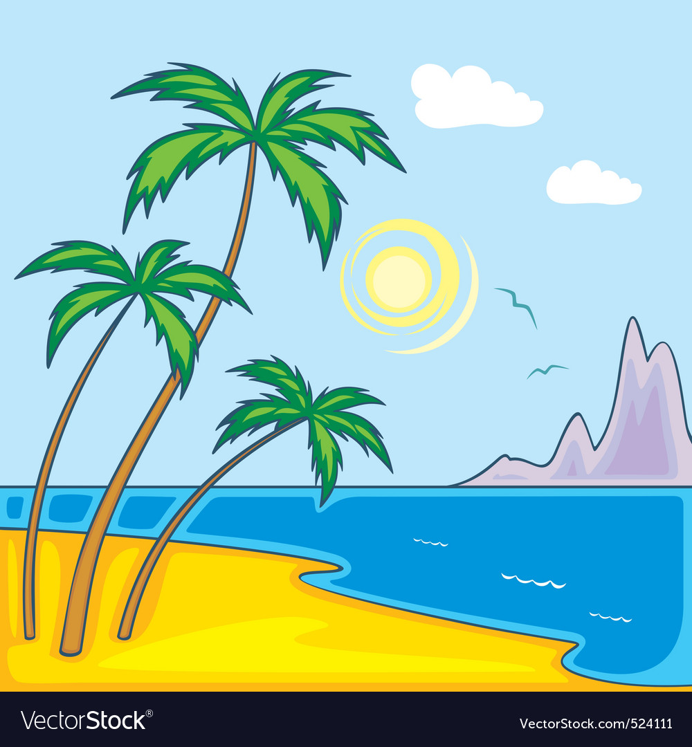 Paradise beach vector | Price: 1 Credit (USD $1)