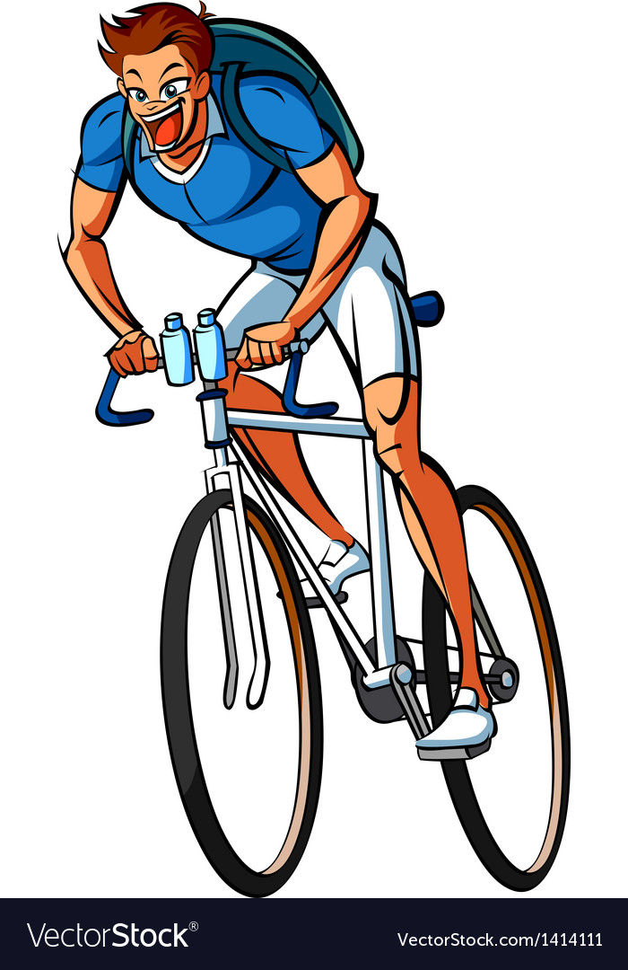 Side view of man riding bicycle vector | Price: 1 Credit (USD $1)