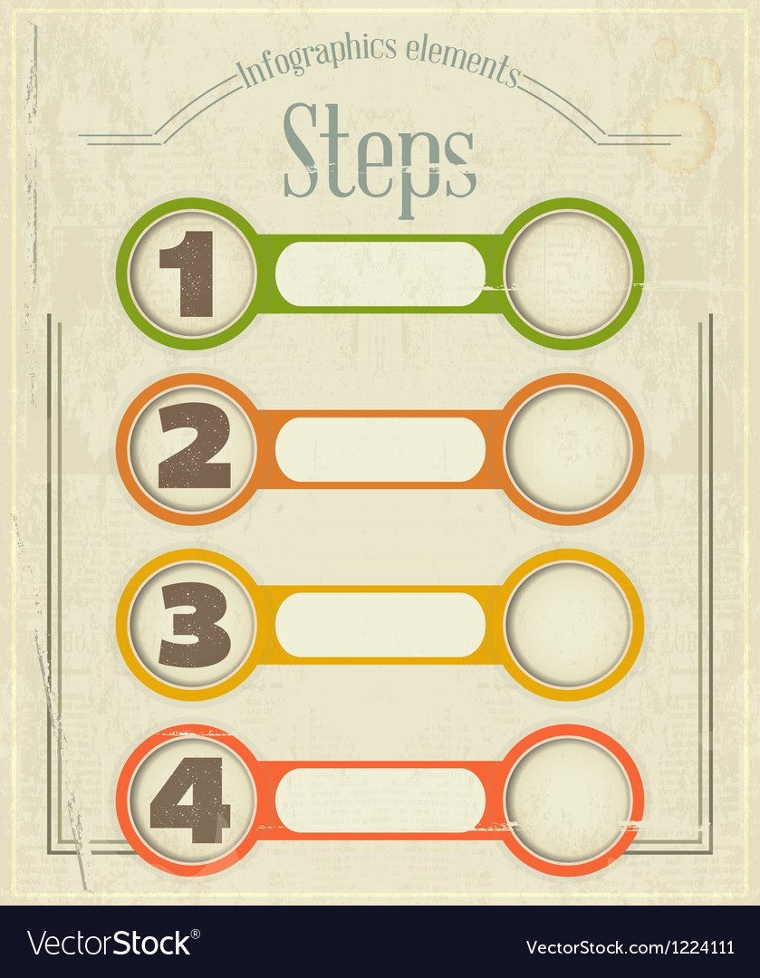 Vintage infographics design in retro style vector | Price: 1 Credit (USD $1)
