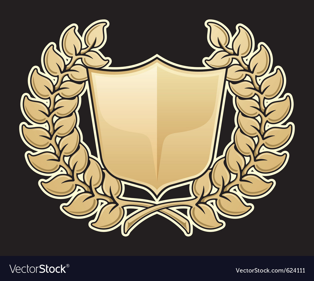 Wreath with shield vector