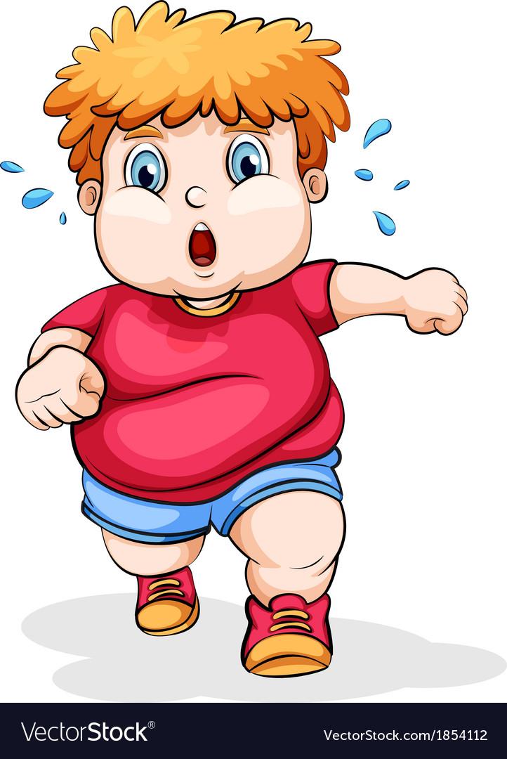 A fat caucasian kid running vector | Price: 1 Credit (USD $1)