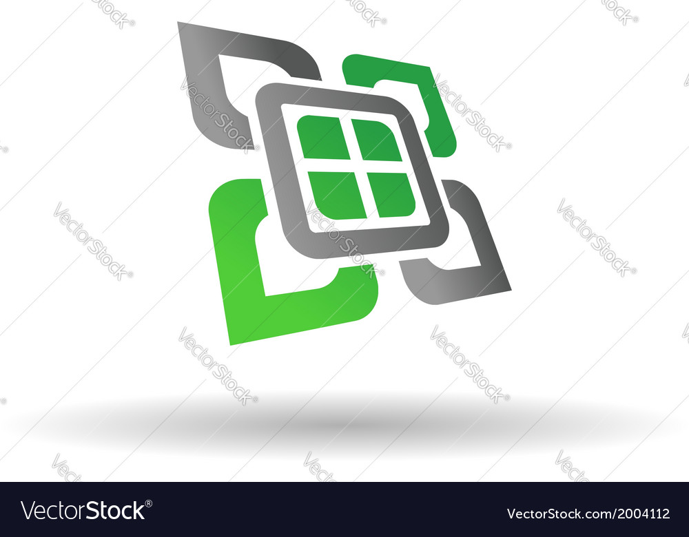Abstract green and grey symbol vector | Price: 1 Credit (USD $1)
