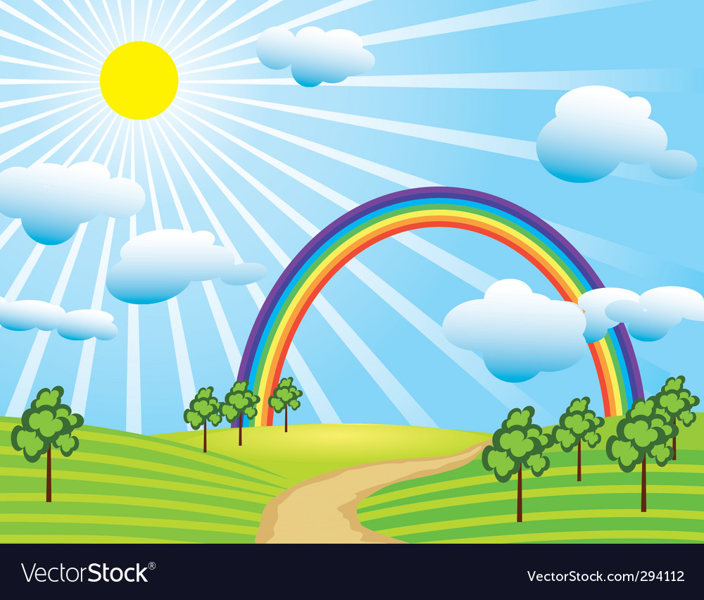 Field road and a rainbow vector | Price: 1 Credit (USD $1)