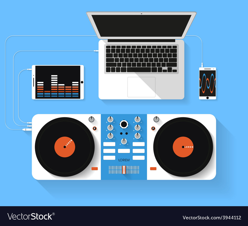 Flat design of dj workspace top view of des vector | Price: 1 Credit (USD $1)