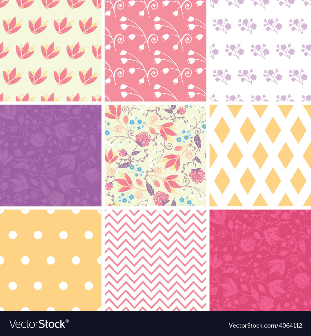 Fresh field flowers and leaves set of nine vector | Price: 1 Credit (USD $1)
