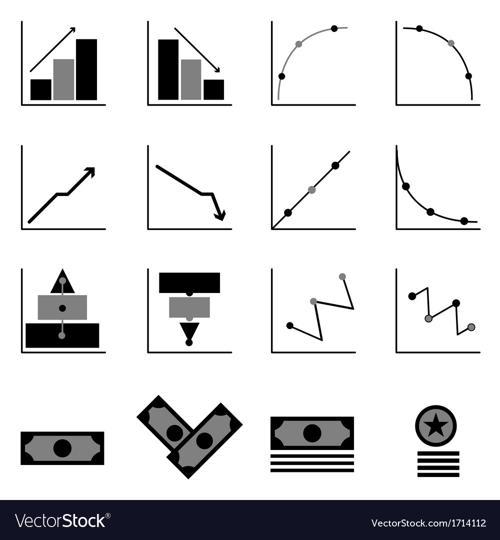 Graph and money icons on black background vector | Price: 1 Credit (USD $1)