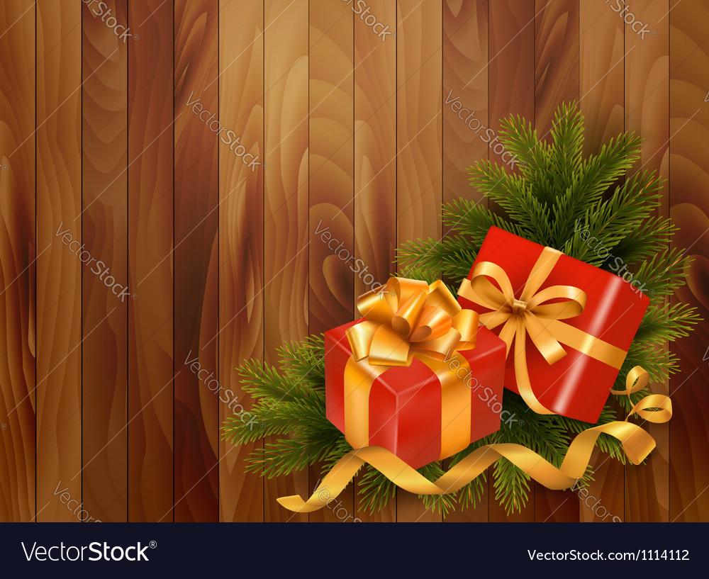 Holiday retro background with christmas tree vector | Price: 1 Credit (USD $1)