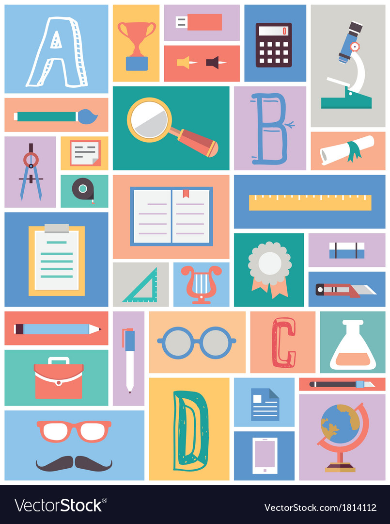 Set of education equipment flat style vector | Price: 1 Credit (USD $1)