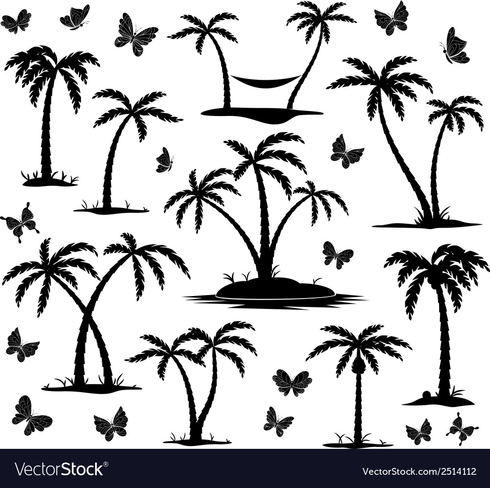 Silhouettes of palm trees vector | Price: 1 Credit (USD $1)