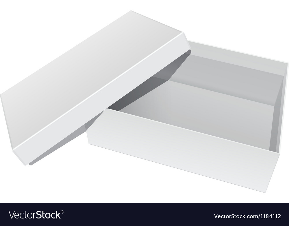 White blank package box opened with the cover vector   Price: 1 Credit (USD $1)