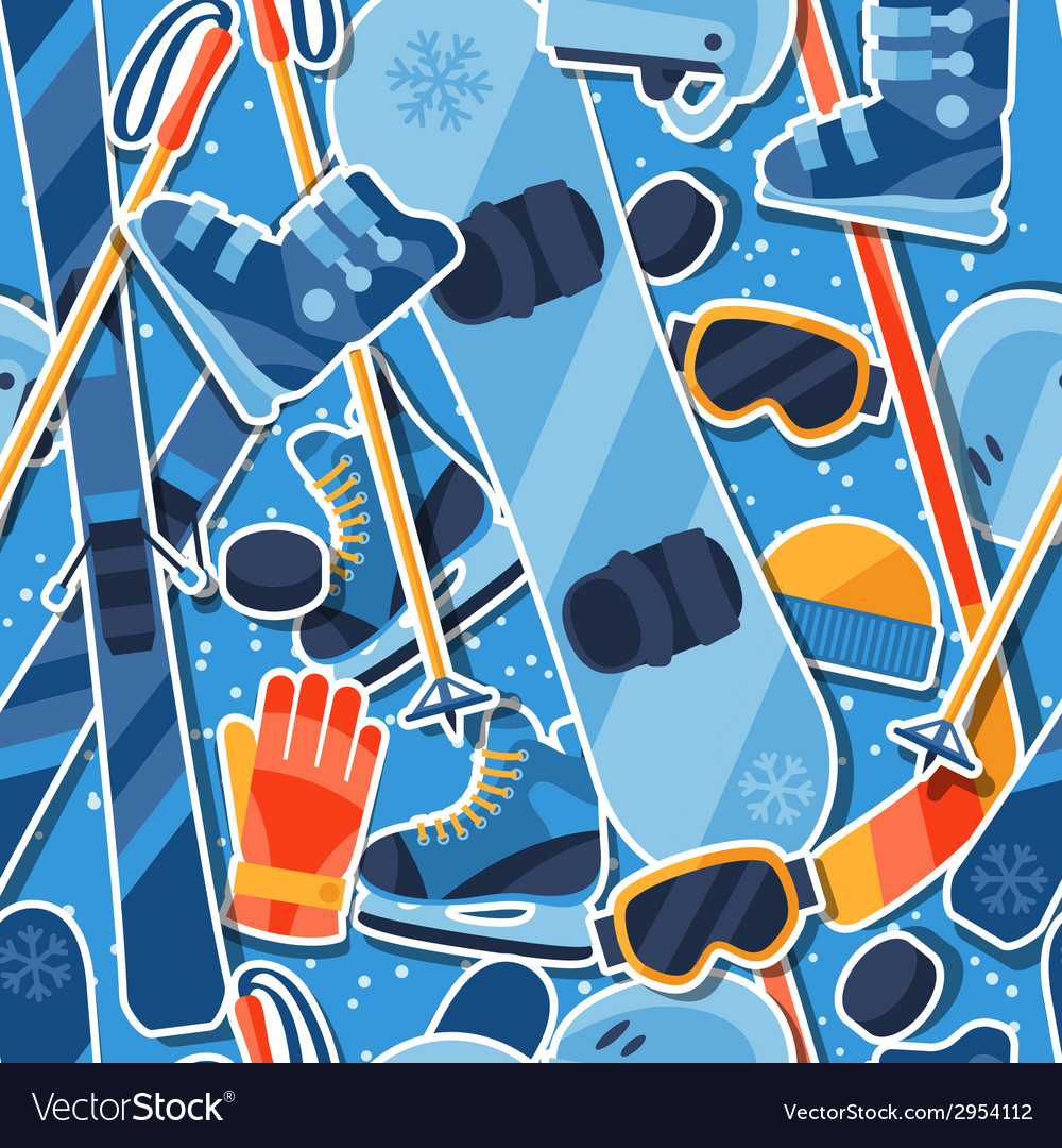 Winter sports seamless pattern with equipment vector | Price: 1 Credit (USD $1)