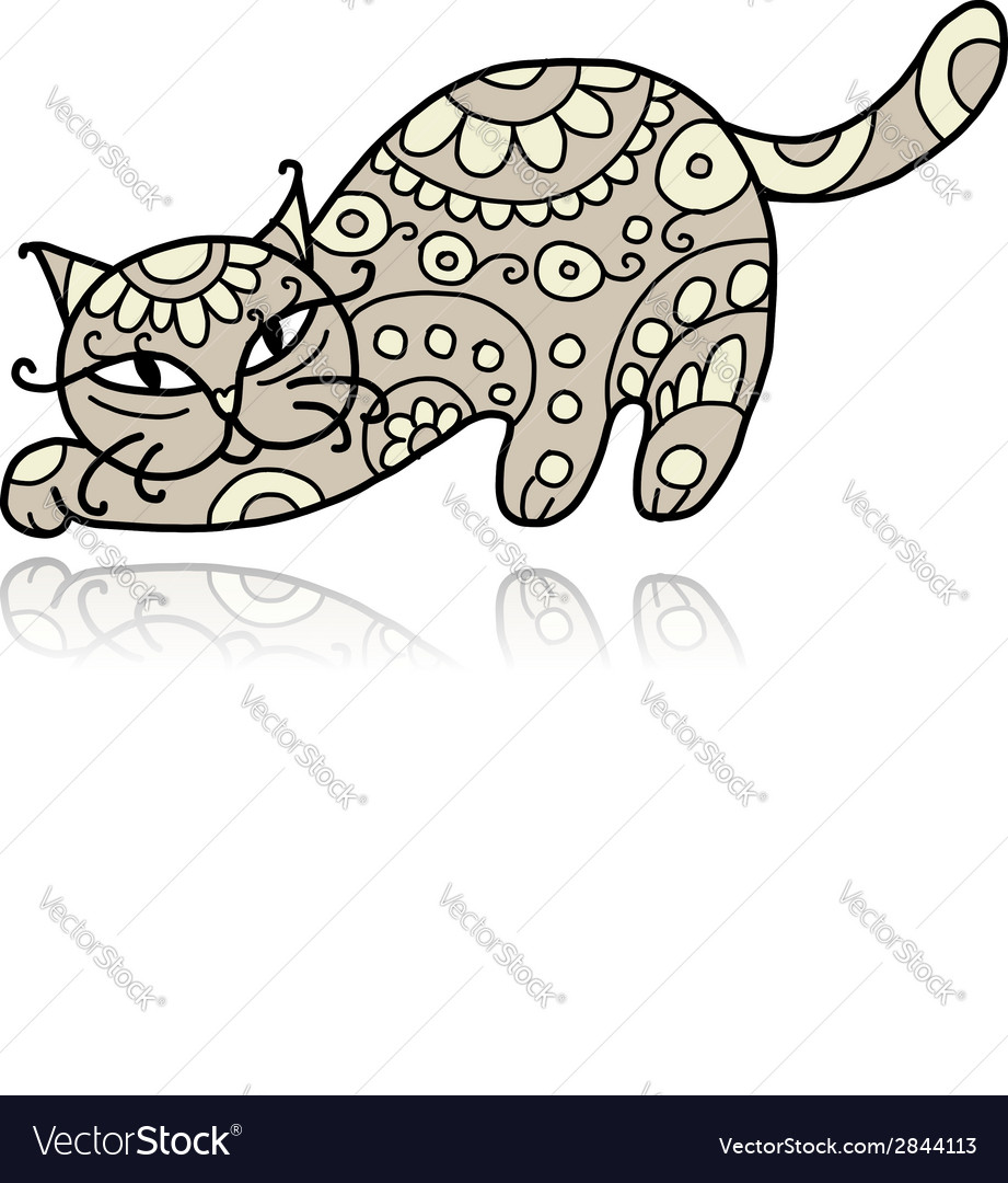 Art cat with floral ornament for your design vector | Price: 1 Credit (USD $1)