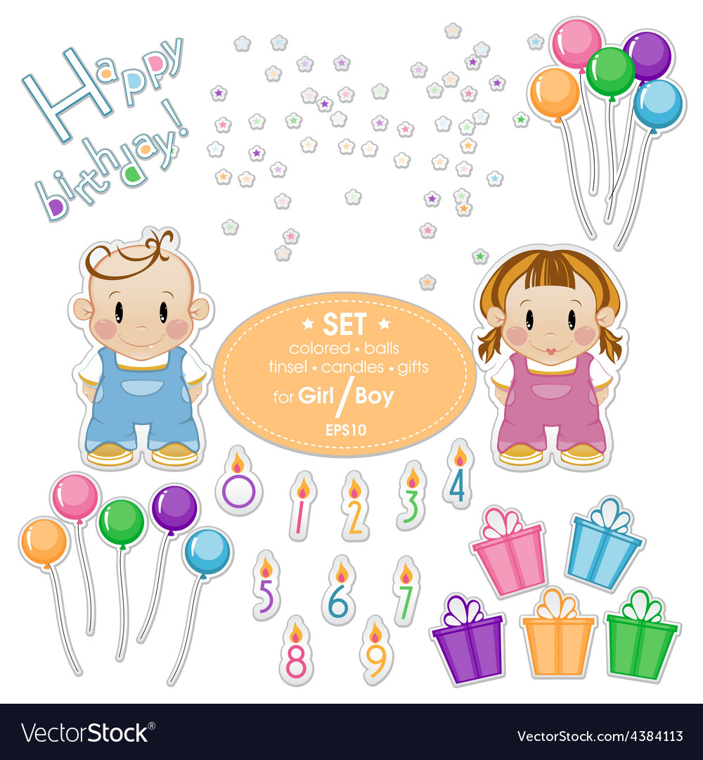 Baby kit for the holiday birthday boy or girl vector | Price: 1 Credit (USD $1)