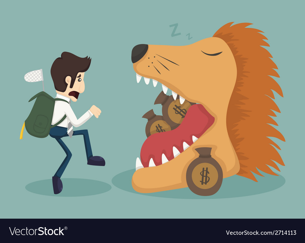 Businessman steal money from lion vector | Price: 1 Credit (USD $1)