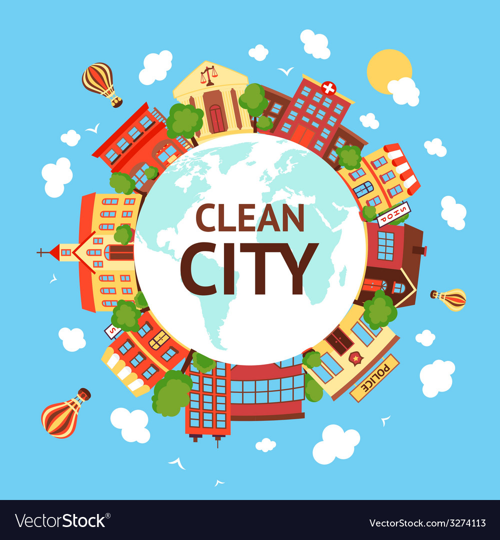 Clean city scape background vector | Price: 1 Credit (USD $1)