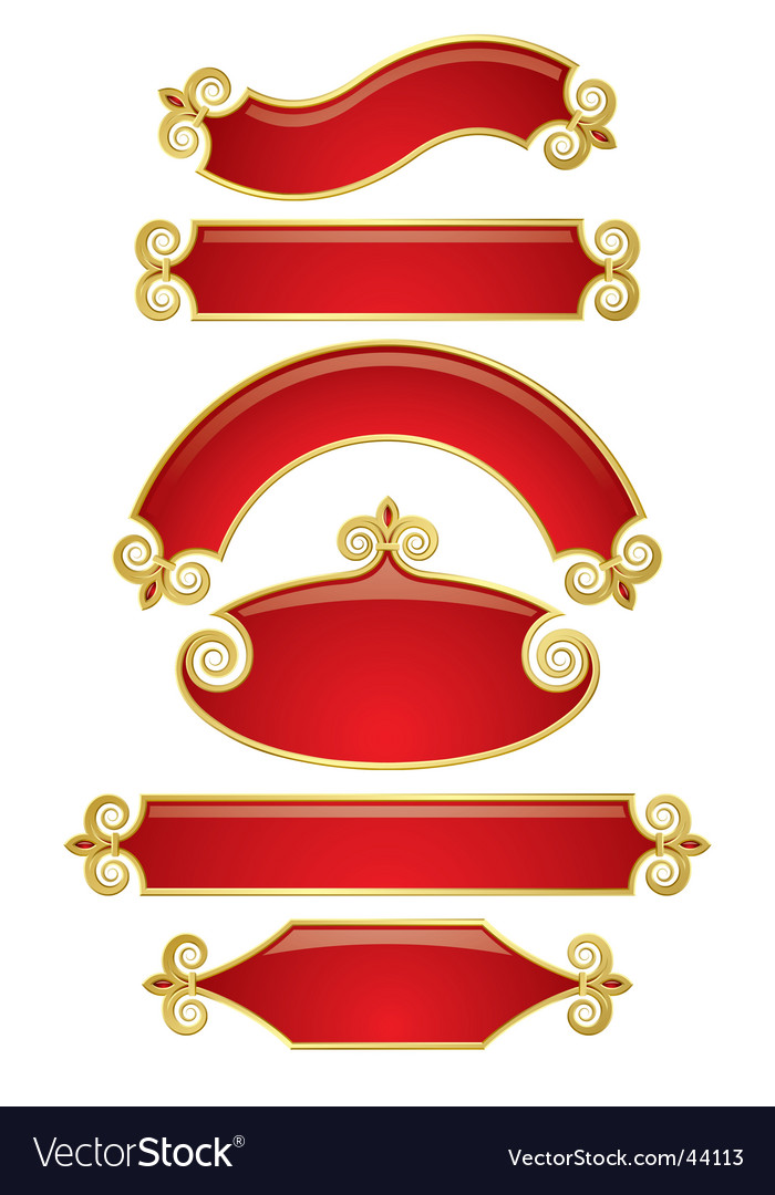 Red-gold banners vector | Price: 1 Credit (USD $1)