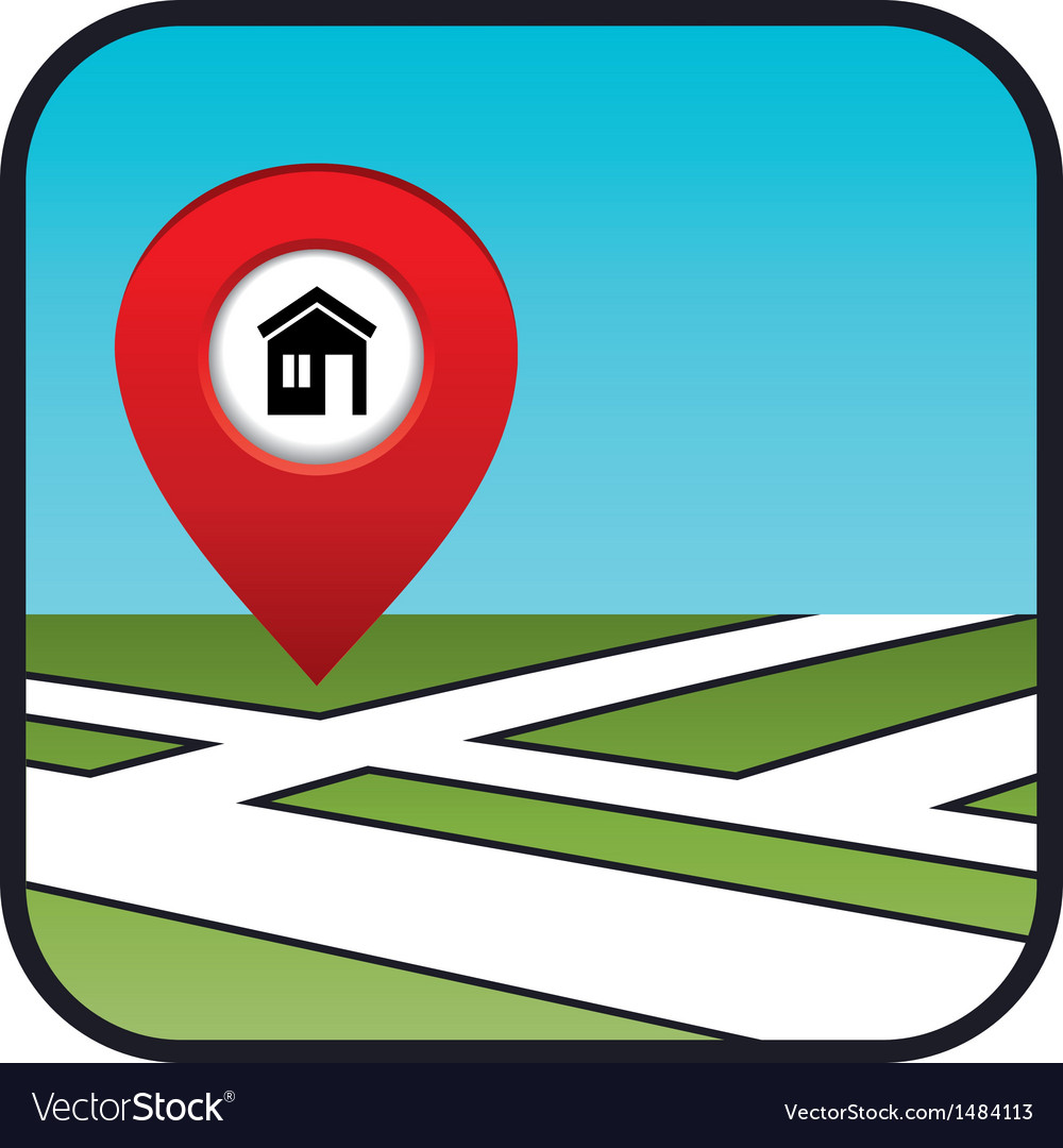 Street map icon with the pointer home vector | Price: 1 Credit (USD $1)
