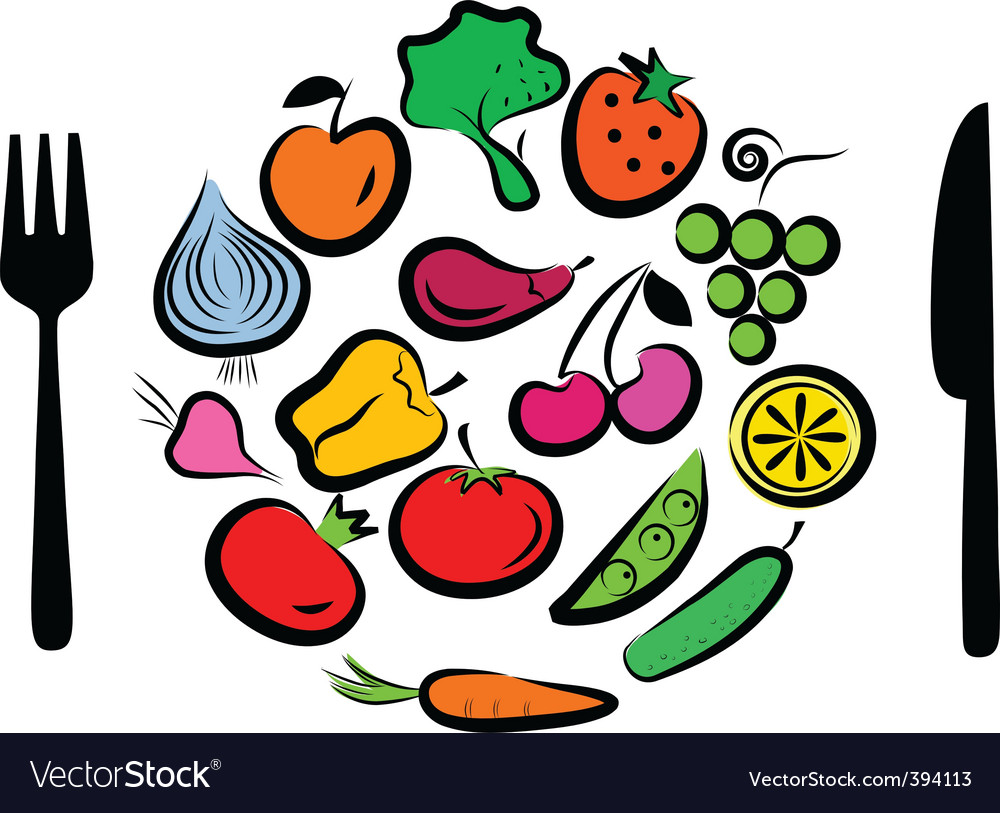 Vegetables plate vector | Price: 1 Credit (USD $1)