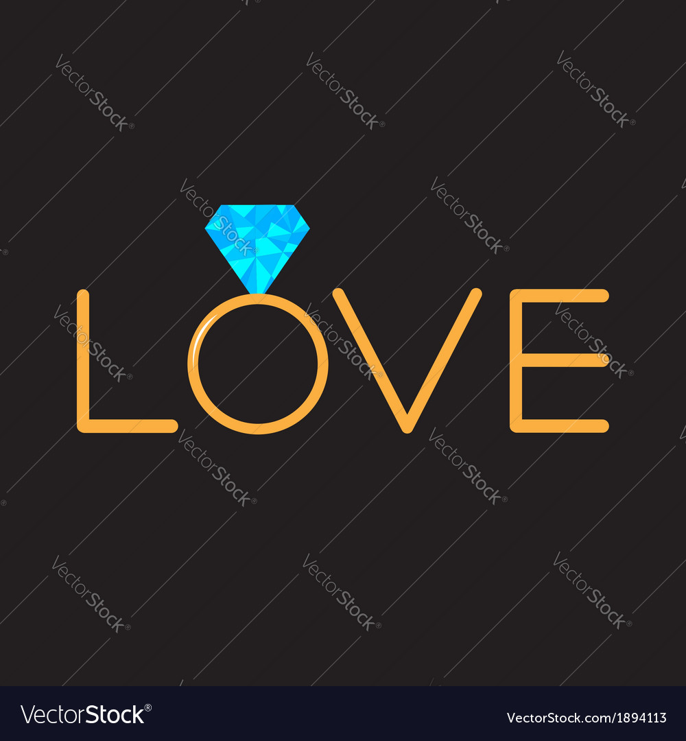 Wedding gold ring with blue diamond word love vector | Price: 1 Credit (USD $1)