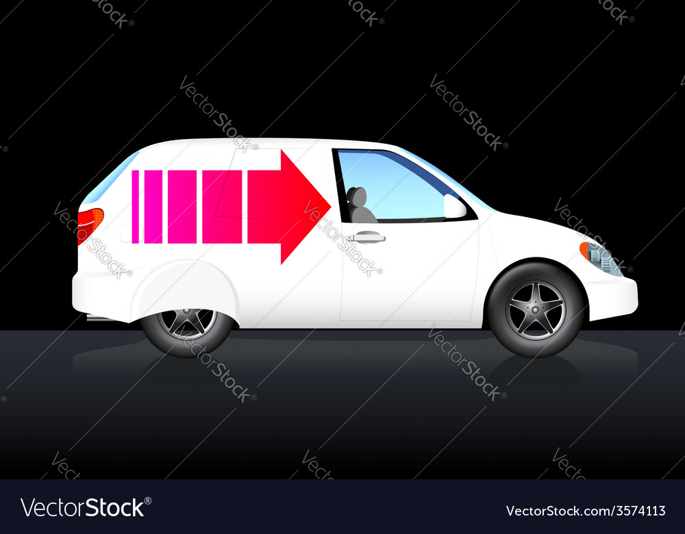 White delivery car with red arrow vector | Price: 1 Credit (USD $1)