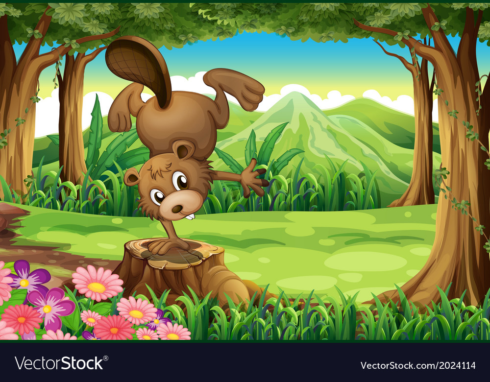 A beaver above the stump vector | Price: 3 Credit (USD $3)