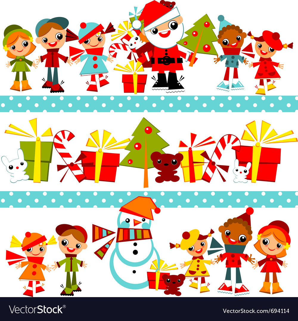 Christmas background with set kids vector | Price: 3 Credit (USD $3)