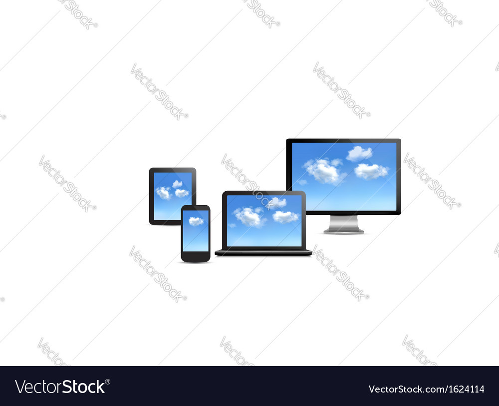 Cloud computing concept set of computer devices vector | Price: 1 Credit (USD $1)