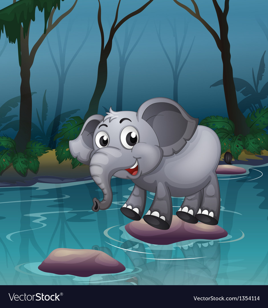 Elephant water crossing vector   Price: 1 Credit (USD $1)
