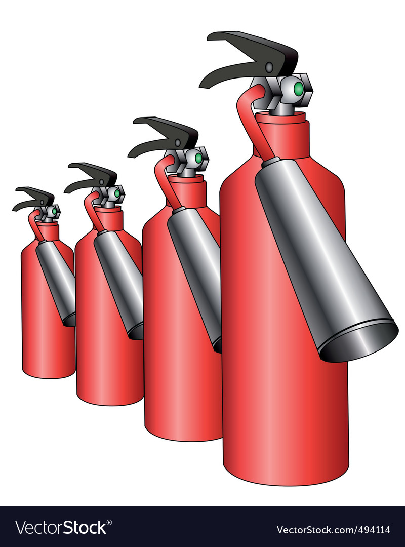 Group of red fire extinguishers vector | Price: 1 Credit (USD $1)
