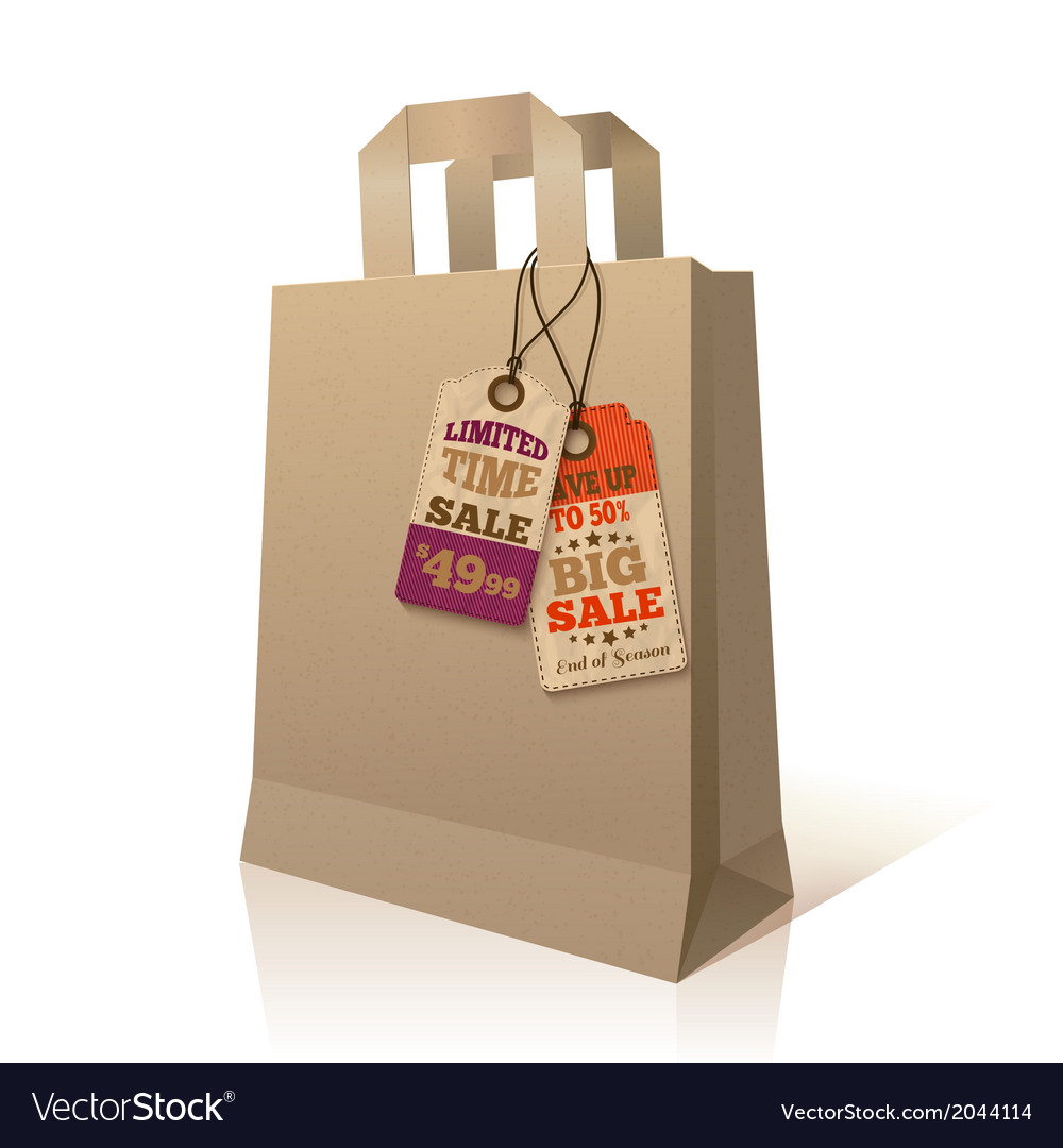 Paper shopping bag with promotion tags vector | Price: 1 Credit (USD $1)