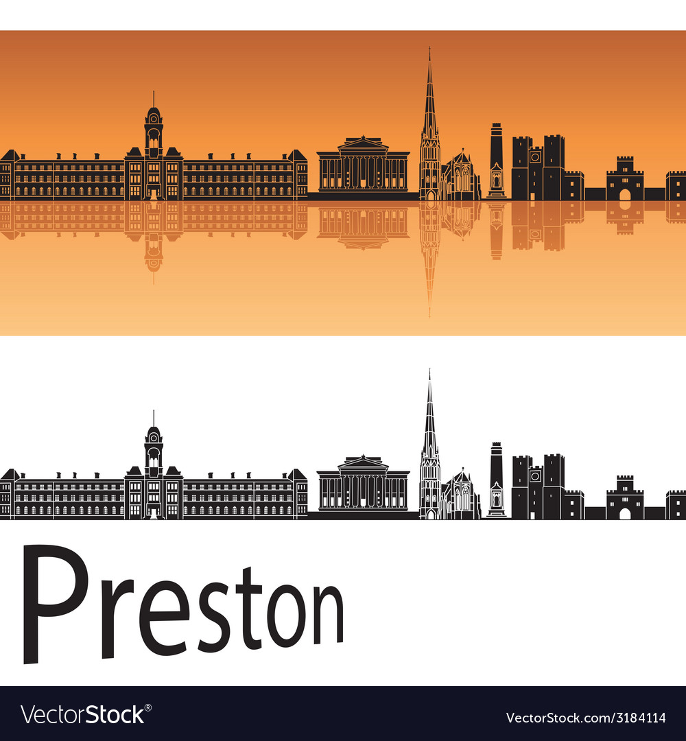 Preston skyline in orange background vector | Price: 1 Credit (USD $1)