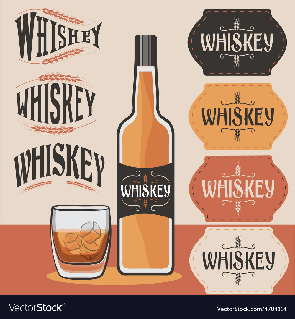 Retro collection of whiskey bottleglass of whiskey vector | Price: 1 Credit (USD $1)