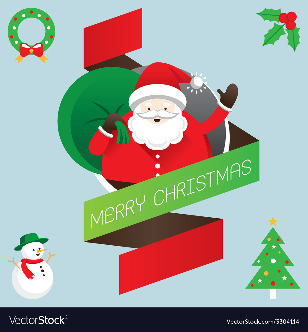 Santa with ribbon and text vector | Price: 1 Credit (USD $1)