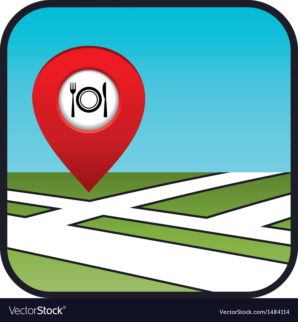 Street map icon with the pointer restaurant vector | Price: 1 Credit (USD $1)
