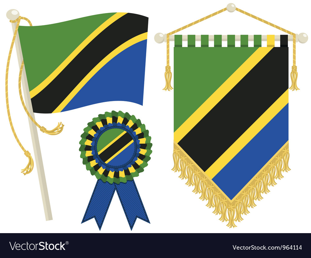Tanzania flags vector | Price: 1 Credit (USD $1)