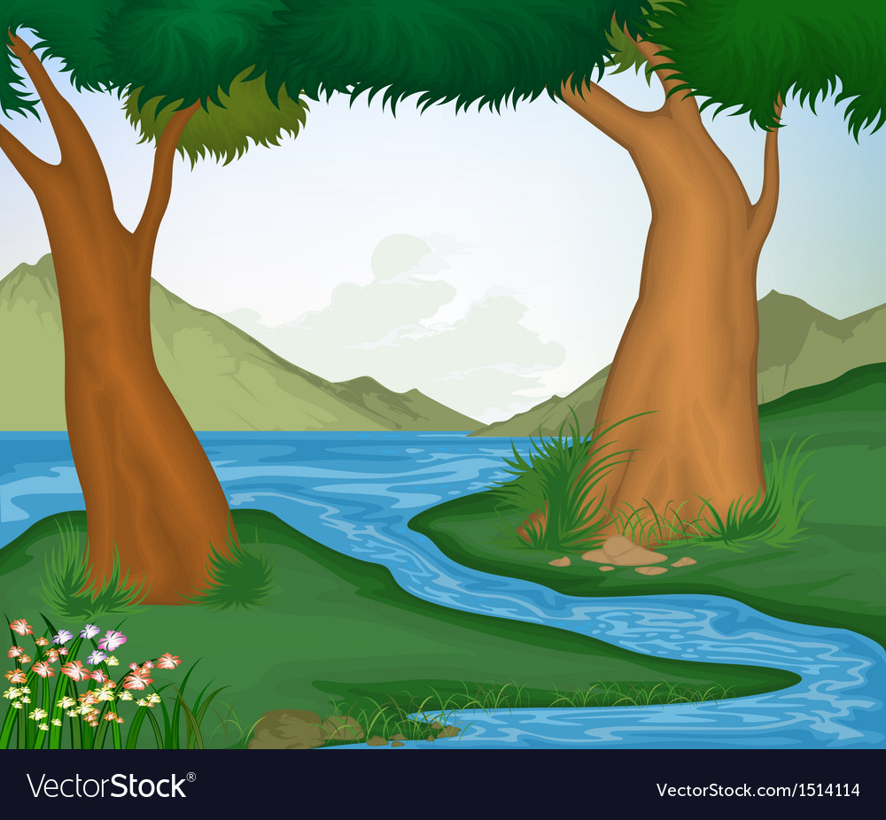Tree and nature background vector | Price: 1 Credit (USD $1)