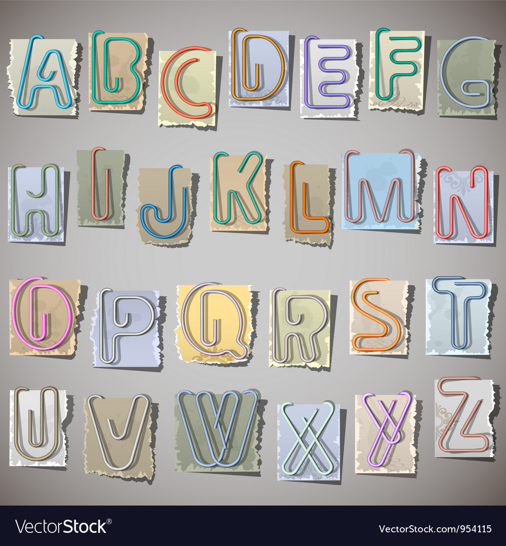 Alphabet on old paper vector | Price: 1 Credit (USD $1)