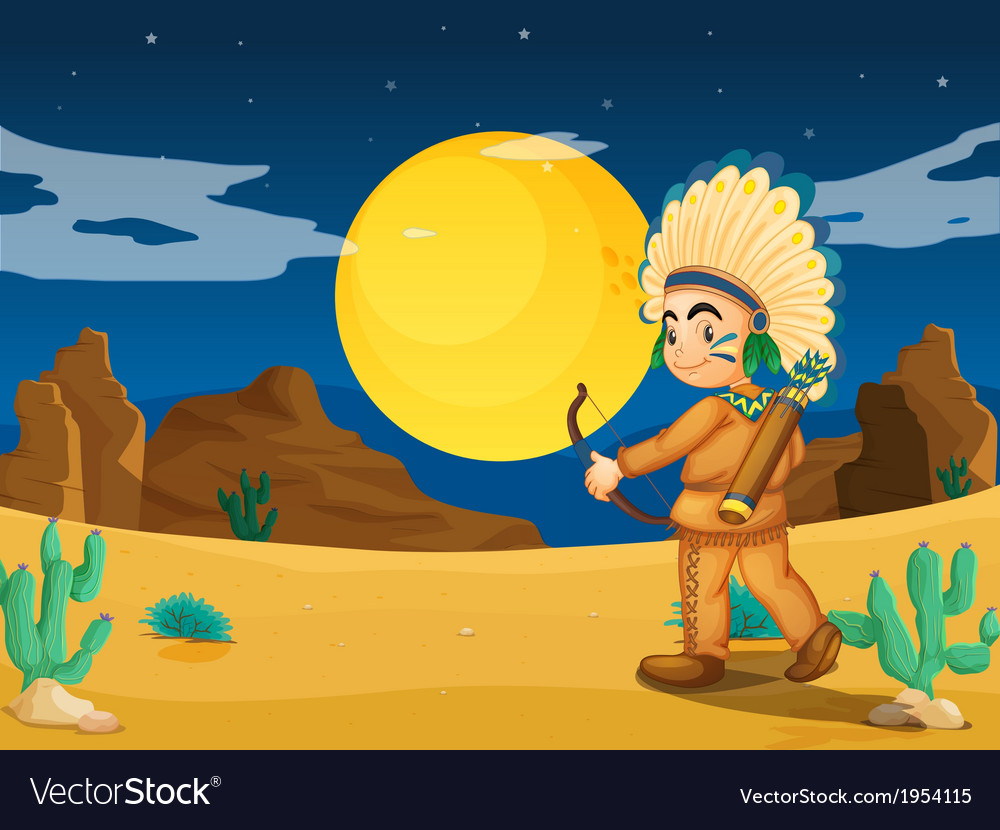 An indian at the desert vector | Price: 1 Credit (USD $1)