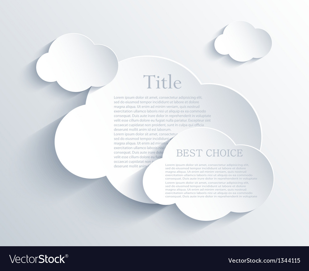 Cloud design element with place for your text vector | Price: 1 Credit (USD $1)