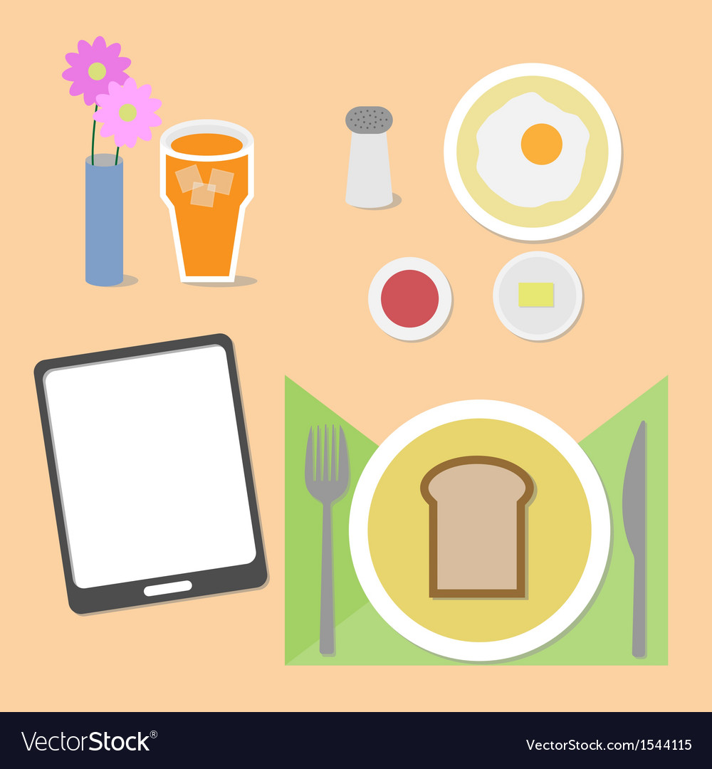 Food and brain breakfast set vector | Price: 1 Credit (USD $1)