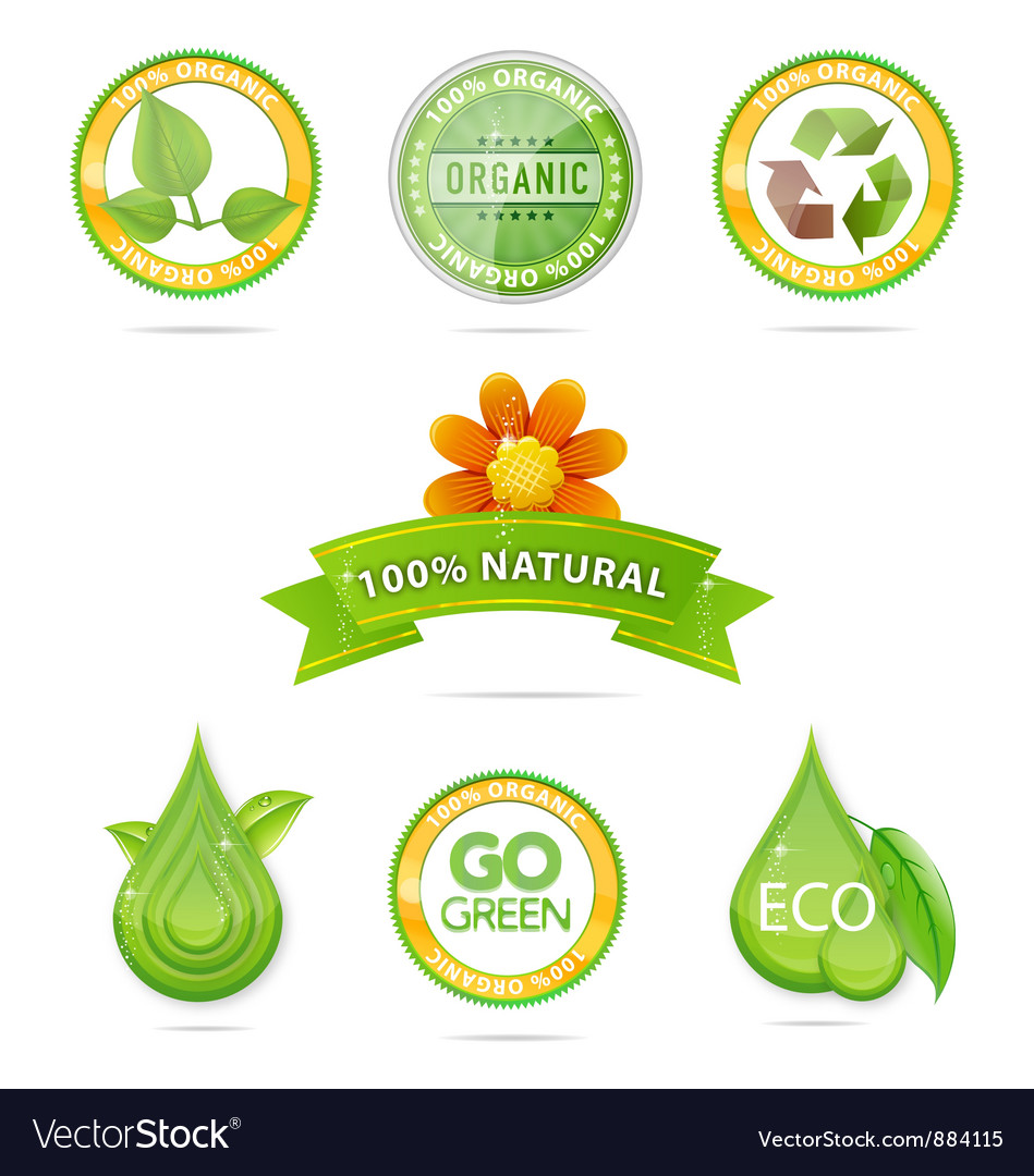 Green nature emblems vector | Price: 3 Credit (USD $3)